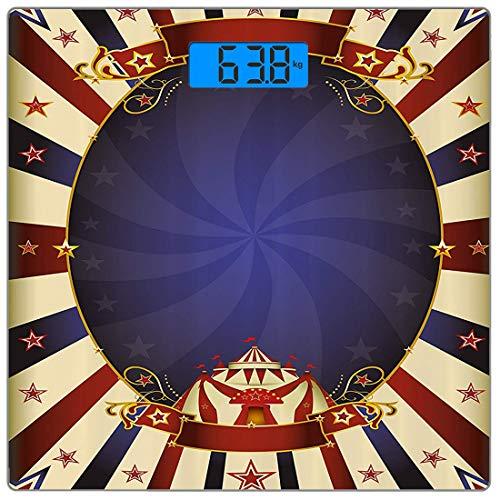 Precision Digital Body Weight Scale Vintage Ultra Slim gehärtetes Glas Personenwaage Genaue Gewichtsmessungen, Zirkus Thema Retro Karneval Zelt Ribbon Figures Poster wie Bild, Multi