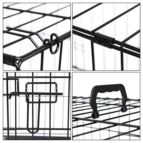 Songmics L Hundekäfig faltbar Käfig mit 2 Türen 1 x herausnehmbare Kunststoffwanne schwarz 75 x 54 x 47 cmPPD30H - 5