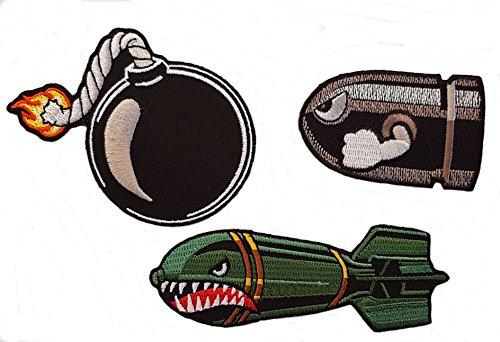 Preisvergleich Produktbild Angry Bullet 3 pcs set Drop Bomb + Ball Bomb Funny Video Game Patches Aufnäher