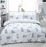 Eirene Threadz Ellephant & Cat & Unicorn Printed Polycotton Duvet Cover Sets with Pillow Cases Bedding Sets (King, Cat Grey)