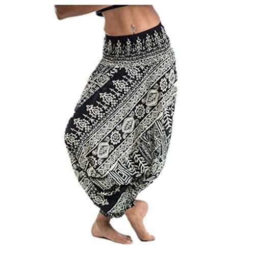 Fuibo Yoga Trousers Women 【Women Casual Summer Loose Yoga Trousers】【Baggy Bohemian Jumpsuit Harem Pants】 for Sport Yoga Trousers Women