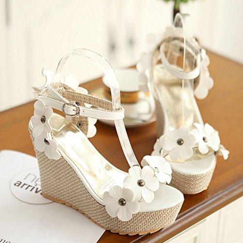 COOLCEPT Femmes Mode Cheville Sandales Orteil ouvert Slingback Compenses Chaussures With Fleur Blanc