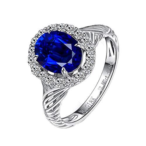 KnSam Goldring 750 Echtgold Trauring Weissgold 750 prunkvoll Verflechten Natürlich 2.88 Carat Saphir 0.41 Carat Diamant Größe 50 (15.9) Blau
