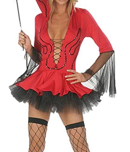 Spandex Kostüm Teufel Rote (La vogue Set Teufelkostüm Minikleid Pitchfork Halloween)