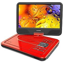"""Lecteur DVD Portable 12"""" avec écran Rotatif de 10,5"""" à 270°, Carte SD et Prise USB avec Charge directe Formats/RMVB/AVI / MP3 / JPEG, Parfait pour Enfants (Rouge)"""