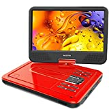 "WONNIE 2019 Upgrade 12.5"" Portable DVD Player with 10.5 inches 270° Swivel Screen Built-in Rechargeable Battery SD Card and USB, Direct Play in Formats AVI/MP3/JPEG/RMVB (12.5, Red)"