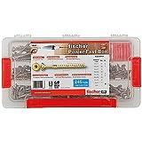 Fischer Power-Fast Box 245 teilig, Schrauben von Durchmesser 3,5 bis 5, 1 Bit TX 10 und 20, 667005