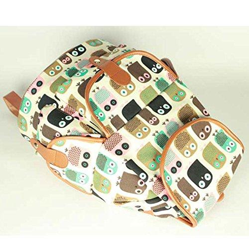 Sammua koreanische Art Schwalben Blumen Rucksack Spielraum Weekend Daypack mit Kordelzug Lederschnallen Schultasche Rucksack für Mädchen - Weiß Owl