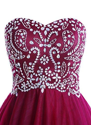 Bbonlinedress Robe de soirée et de bal A-line plissée emperlée florale bustier sans bretelle forme de cœur longueur ras du sol en tulle Orange