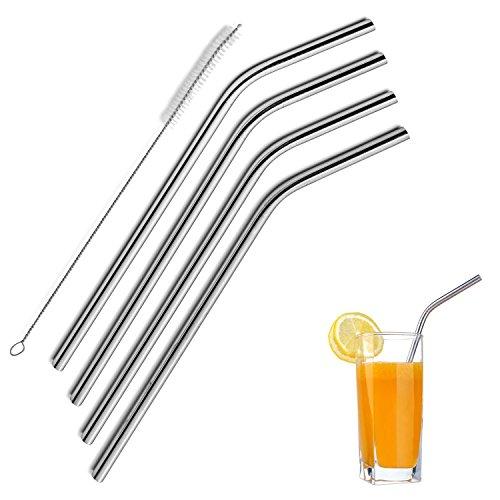 EQLEF® Edelstahl-Trinkhalme 4 Stücke mit Gratis-Reinigungsbürste