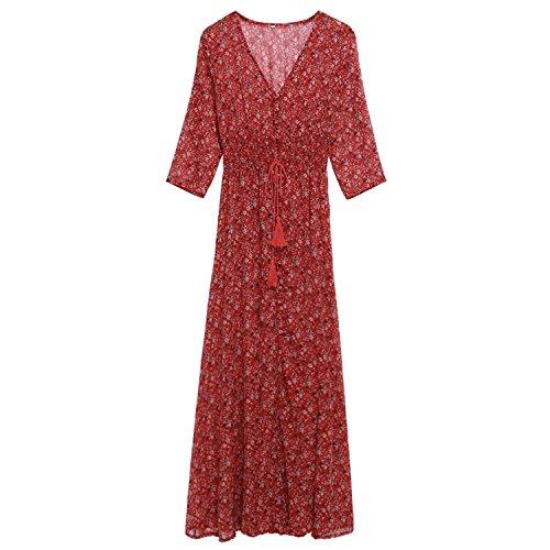 CRAVOG 2016 femmes sexy maxi robe imprimée floral rétro bohême Vintage robe de plage Rouge