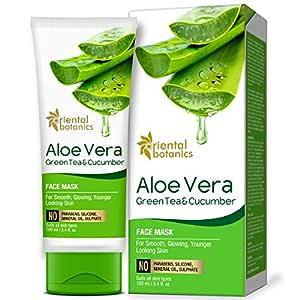 Oriental Botanics Aloe Vera, Green Tea & Cucumber Face Mask For Smooth, Glowing & Younger Looking Skin, 100ml