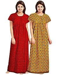 YUKATA Womens Cotton Printed Nighty, Free Size(2PCSCOMBO) Item Name (aka Title1)