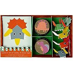 Dinosaurio Kit para cupcakes (72unidades) para fiesta de cumpleaños de niño para niños Kids dinosaurios partes suministros Origami DIY 24adornos para cupcakes y 24papel casos