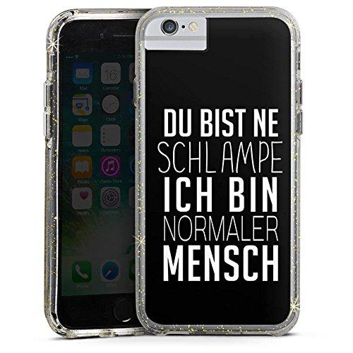 Apple iPhone 6 Plus Bumper Hülle Bumper Case Glitzer Hülle Pietro Lombardi Spruch Statement Bumper Case Glitzer gold