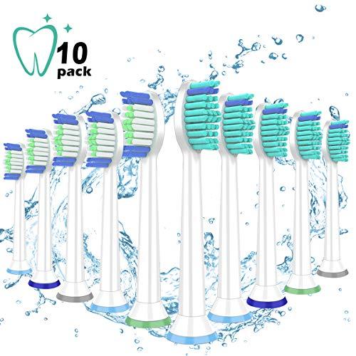 Zeuste, testine di ricambio per spazzolino da denti compatibili con philips sonicare diamondclean,flexcare,healthywhite,easyclean,essence+(plus), più testine per spazzolini