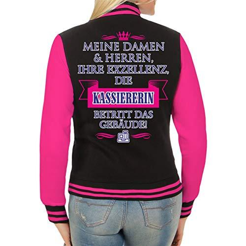 Spaß kostet Frauen und Damen Baseballjacke Ihre Exzellenz DIE KASSIERERIN (mit Rückendruck) Größe XS - XL