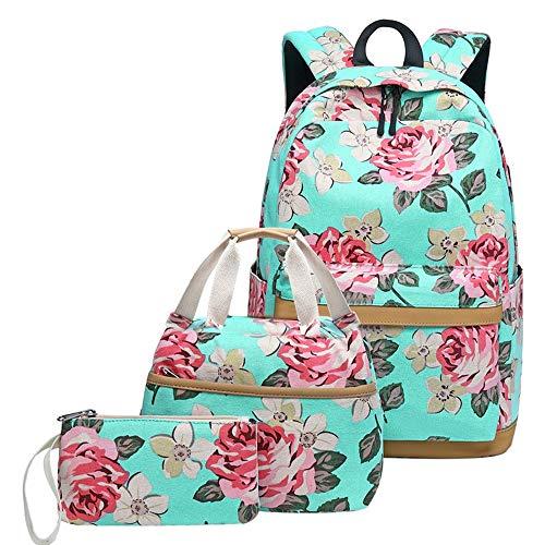 OOFAY Druck leinwand Rucksack, USB Lade lässig wasserdicht schultaschen Rucksack Set, mit Laptop Rucksack + Handtasche + federmäppchen, für mädchen/schüler/jugendlich Jugend,Green (Jugend-clubs Und)
