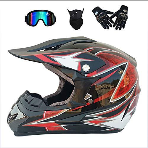 NGB Motocross Helmet Off Road Motorcycle Dirt Bike/MX/ATV/DOT/ECE Scooter Mountain Motorbike Quad Motocross Enduro Sport Helmet/Gloves/Goggles/Maske (4 Style),Red,XL