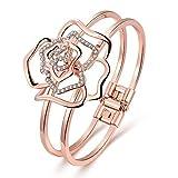 Dilanco Bracelet jonc pour femme Plaqué or rose 18K en forme de 'Rose'