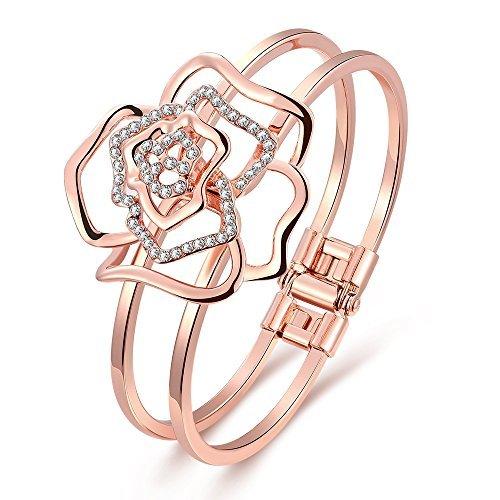 """18K oro rosa placcato braccialetti Bangle """"A forma di rosa per le donne"""