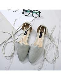 Xing Lin Sandalias De Mujer La Nueva Punta De Los Zapatos De Mujer Gruesas Correas Cruzadas Con Tacones Altos Cómodas Sandalias, Onda 36 Calzado Deportivo Código Estándar, La Luz Verde
