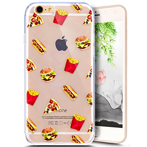 Coque Housse Etui pour iPhone 6/6S, iPhone 6/6S Coque en Silicone Clear Etui Housse,iPhone 6/6S Silicone Coque Transparent Housse Etui Gel Slim Case Soft Gel Cover Skin, Ukayfe Etui de Protection Cas  Hamburgers