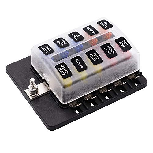 Sicherungsbox 1 In 10 Out 30A, mit LED-Lampe 12-32V PC Terminal Block wasserdichter Schutz elektrische sanieren für Auto RV Schiff zu senden Aufkleber -