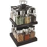 Carrousel à épices tournant - rangement porte épices - 16 pots en verre