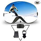 KACOOL Skibrille, Snowboardbrille Anti-Fog-UV-400 Schutz Skibrillen Set, Auswechselbare Sphärische Doppel-Lens Belüftung Skibrille für Herren und Damen Skifahren,Gratis Skimaske+Skibrillen-Hüll