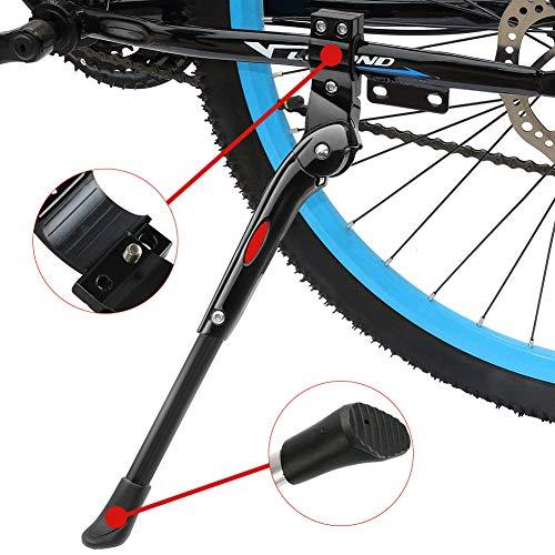buoceans regolabile Bike Side, lega di alluminio regolabile MTB Bike stand con base in gomma antiscivolo, Universal Kick Stand di lega per Mountain Bike, Mountain Bike e bicicletta pieghevole ? Nero ?