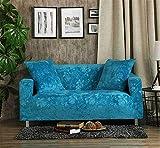 Icegrey Jacquard Sofabezug Anti-Rutsch Schonbezug für Sofa Sofahusse Stretchhusse Säureblau 3 Sitz 195-230cm