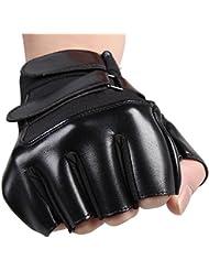 humefor piel semi-finger guantes antideslizante guantes para Fitness gimnasio Entrenamiento deportes al aire libre de equitación, color negro, color black3, tamaño mediano