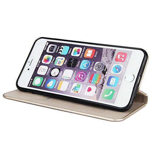 CaseforYou Hülle iPhone 6 / iPhone 6s 4.7 inch Deckung Gehäuse Litchi Grain Pattern PC + PU Leather Protective Deckel Case Magnetic Closure Flip Stand Cover mit Card Slot Schutz für iPhone 6 / iPhone  Grau