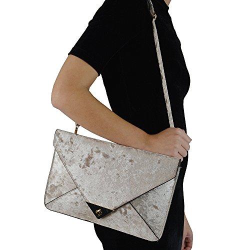 ESSEX GLAM Damentasche Umschlag Samt Abendtasche Clutch Pailletten Handtasche Hautfarbe Samt