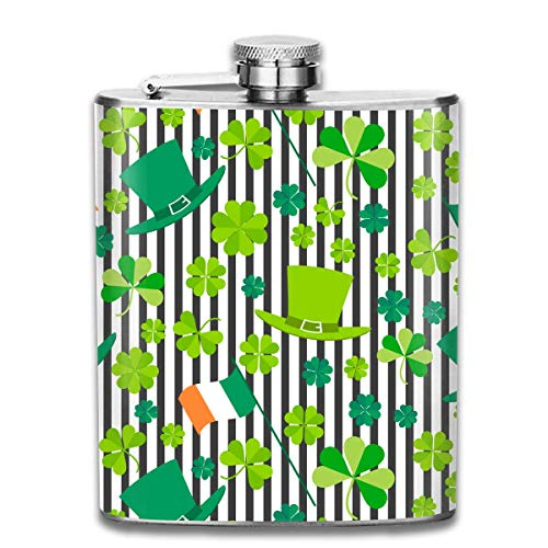 St.Patrick's Day Shamrock Pattern Premium 304 Edelstahl Flachmann personalisierte Flasche großes Geschenk, 7 Oz