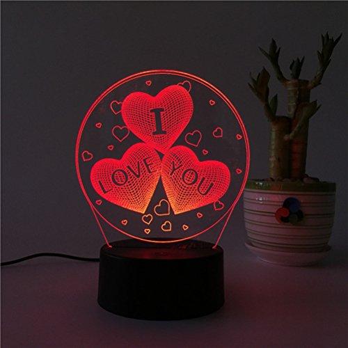 LEDMOMO 3D Herz Formen Nachtlichter 7 Farben Ändern LED Lampe Touch USB Fernbedienung Tischlampe für Paare Romantische Nacht Valentinstag Liebhaber Schlafzimmer Geschenk (drei herzförmigen) (Ich Touch Farbe)