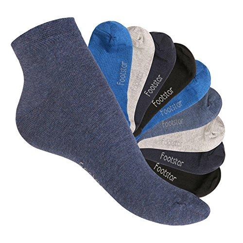 Footstar 10 Paar SNEAK IT! Unisex Kurzschaft Sneaker Jeanstöne-39-42