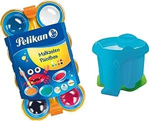 Pelikan 723122 - Mini-Friends Deckfarbkasten mit 8 Farben und 1 Pinsel (Farbkasten + Elefantenwasserbecher Blau)