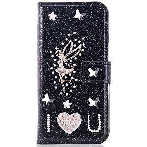 Miagon für iPhone 7/8 Glitzer Brieftasche Hülle,3D Diamant PU Leder Case Kartenslots Ständer Strass Wallet Flip Cover,Engel Schwarz