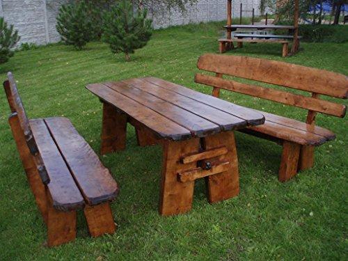 Timberline Sitzgruppe Natura XL 200 cm rustikal Outdoor Gartenmöbel, Farbe:unbehandelt;Material:Eiche - Rustikale Sitzgruppen