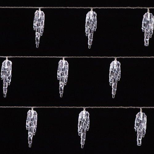 Kaemingk LED Durawise Eisregenvorhang, aussen, Batteriebetrieben, 24 kaltweiße LED, transparentes Kabel, 3.45 m, 6-Stunden Timer 497094 (Web Weihnachtsbeleuchtung)