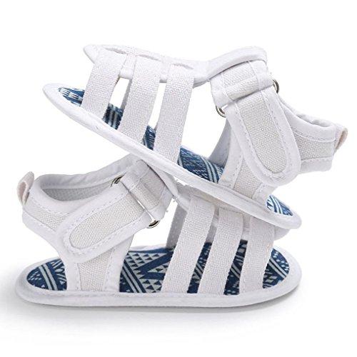 BZLine® Canvas Sandales de Style Souple, Anti-glissant pour Bébés Graçons 0-18Mois Blanc