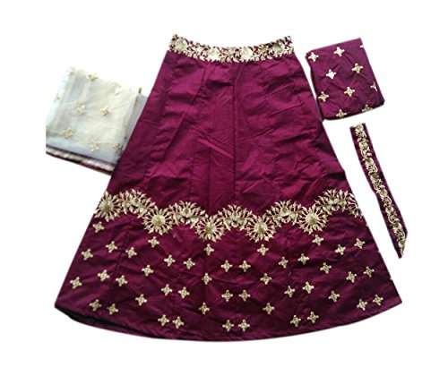 Jaksh Creation Women Banglory Silks Bollywood Designer Semi-Stitched Lehenga Choli (JCKS10663_Maroon_Free Size)