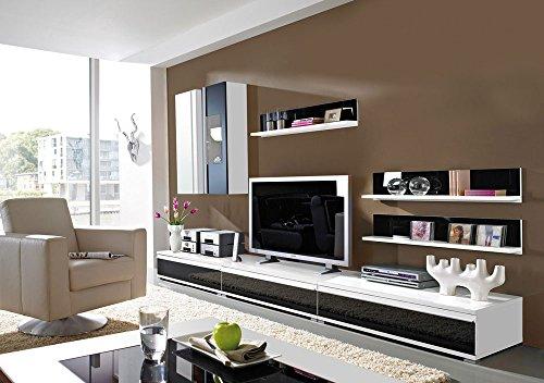 8-tlg. Wohnwand weiß mit Absetzungen in Schwarzglas 1 Hängeschrank, 1 Hängevitrine, 3 TV-Unterschränke, 3 Wandregale, Mindestmaß: B/T ca. 294/54 cm