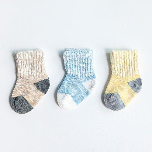Herbst Socken gekämmte Baumwolle Baumwolle Socken in der Tube Relent, Kinder im Alter von 0-3, männliche Slub Garn, S-Code für 6-12 Monate 6 Paar (Neugeborene Jungen Tube-socken)