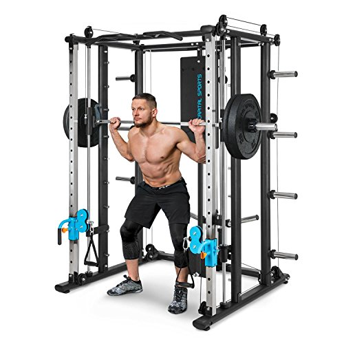 Capital Sports Pro Amaze Smith Machine • Powerrack • Multipresse • 2 Safety-Spotter • 16-Fach höhenverstellbar • Robustes Stahlrohr • inkl. Klimmzugstange • ca. 184 x 210 x 170 cm (BxHxT) • schwarz