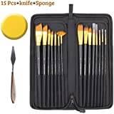 Kurtzy Artist Paint Brush Set with Zipper Carry Case Black (15 Pcs+1 x Knife+1 x Sponge)