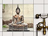 Fliesentattoo Dekosticker | Fliesen-Aufkleber Folie Sticker selbstklebend Küche renovieren Bad Küchen Ideen | 15x20 cm Design Motiv Relaxing Buddha - 6 Stück