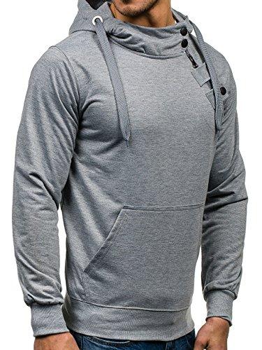 BOLF Herren Kapuzenpullover Sweatshirt Hoodie Pullover Sweatjacke  Sportsweastshirt Mix 1A1 Grau_7087 ...